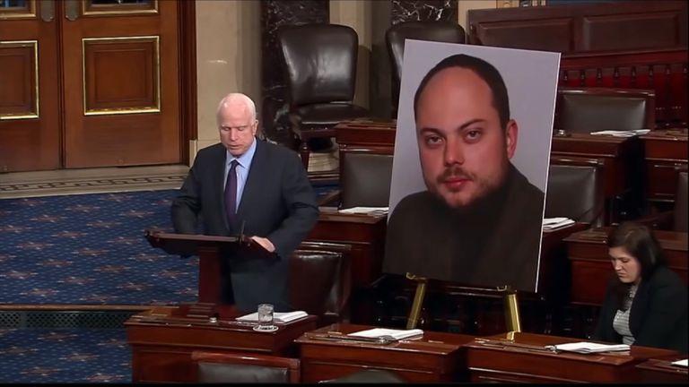 John McCain speaks in the Senate about Russian opposition activist Vladimir Kara-Murza