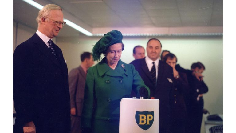 The Queen and then BP chairman Sir Eric Drake at the inauguration of the the Forties Pipeline System in November 1975.