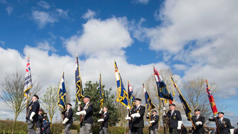 A service marking the Argentine invasion of the Falklands at the National Memorial Arboretum in Staffordshire
