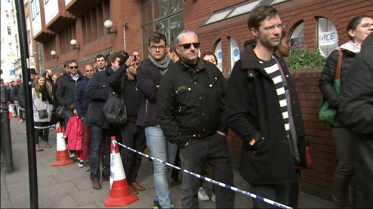 Queues outside a French presidential election polling station in South Kensington, London