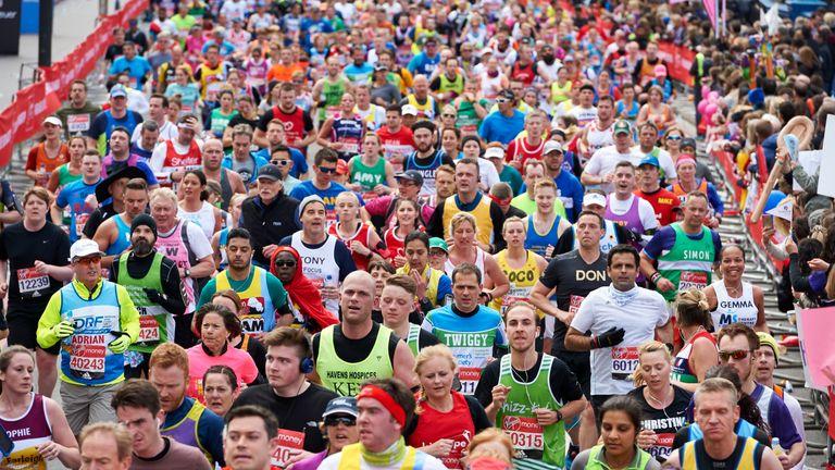 Runners get under way in the London Marathon