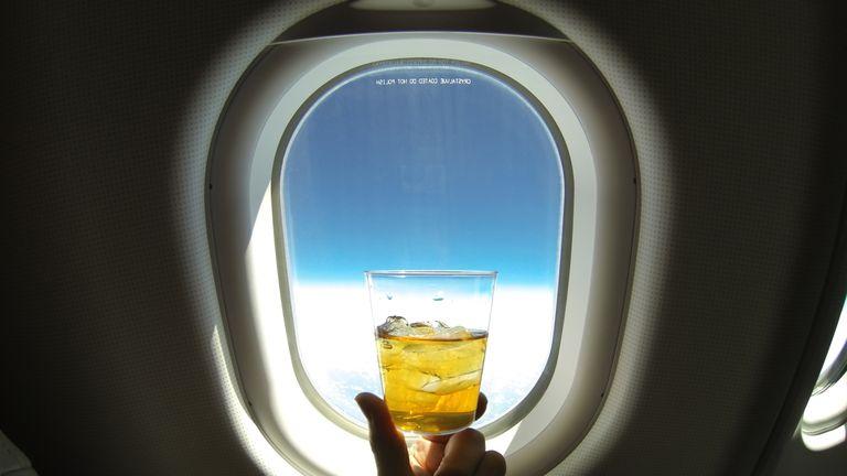 Alcoholic drink on plane