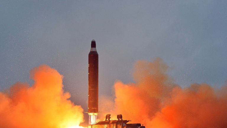 An image released by North Korea of a rocket test in June 2016