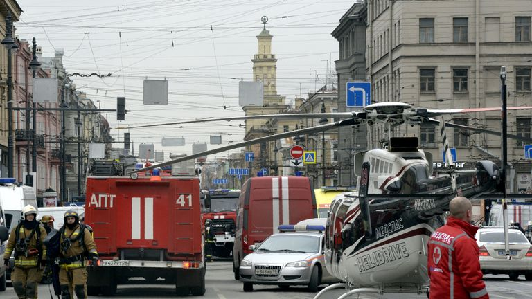 Emergency services personnel and vehicles at the entrance to Technological Institute metro station in Saint Petersburg