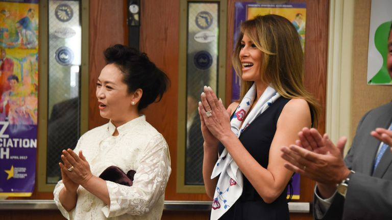 The People's Republic of China First Lady Peng Liyuan visits the Bak Middle School of the Arts in Palm Beach, Florida April 7, 2017