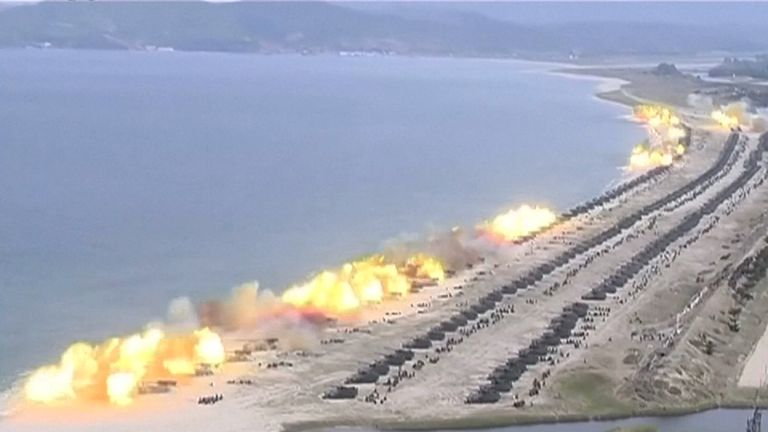 North Korea held a live-fire exercise to mark the 85th anniversary of the founding of its army