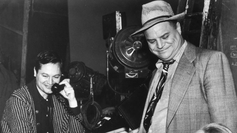 Don Rickles, right, on the set of science fiction film X: The Man with the X-Ray Eyes in 1963