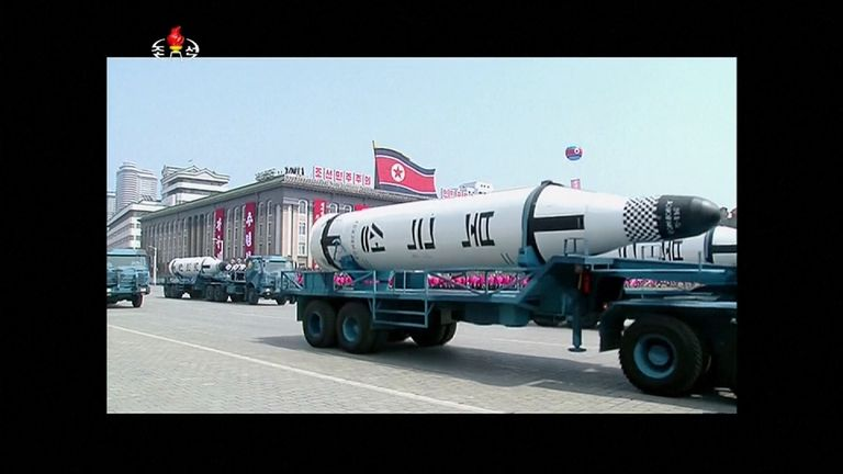 Missiles at a parade in Pyongyang, North Korea
