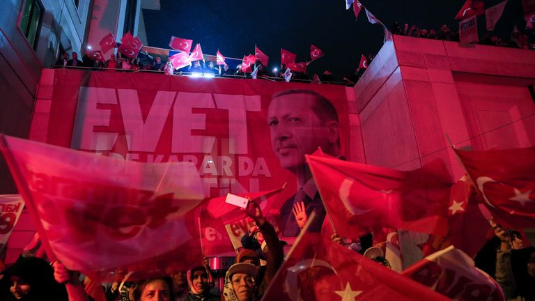 Supporters of Turkey President Erdogan celebrate in Istanbul