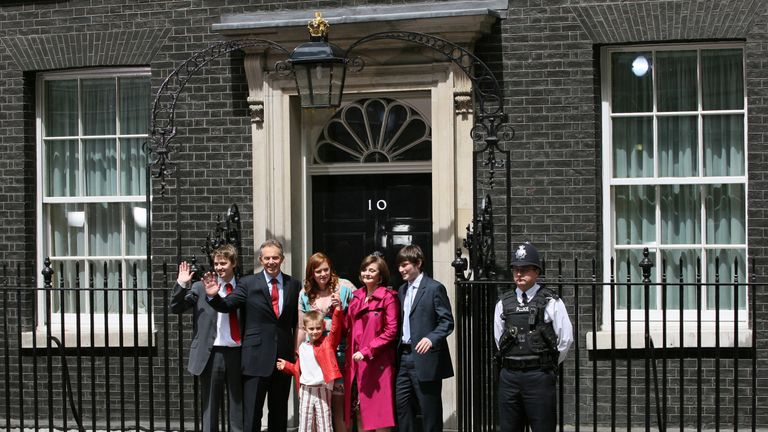 Tony Blair waves goodbye with his family on the steps of 10 Downing Street, 27 June 2007
