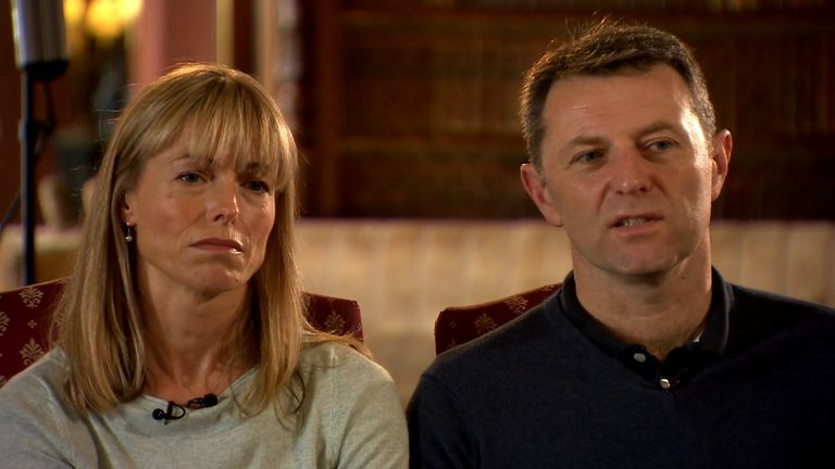 Kate and Gerry McCann, parents of Madeleine, speaking to the BBC