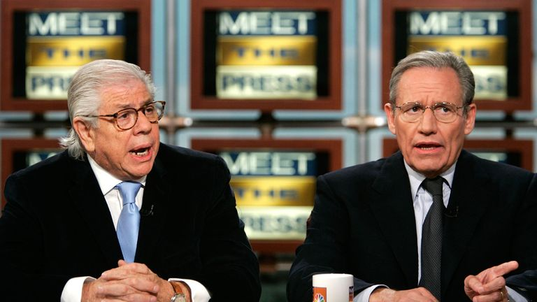 Bob Woodward (R) and Carl Bernstein (L) speak on NBC's 'Meet the Press' July 17, 2005 during a taping at the NBC studios in Washington, DC