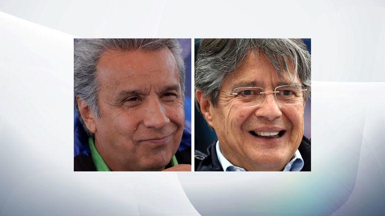 Presidential candidates Lenin Moreno (L) and Guillermo Lasso