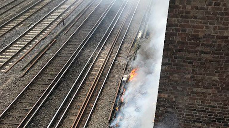 The fire broke out next to the track near South Hampstead