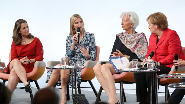 Ivanka Trump speaking alongside Christine Lagarde and Angela Merkel