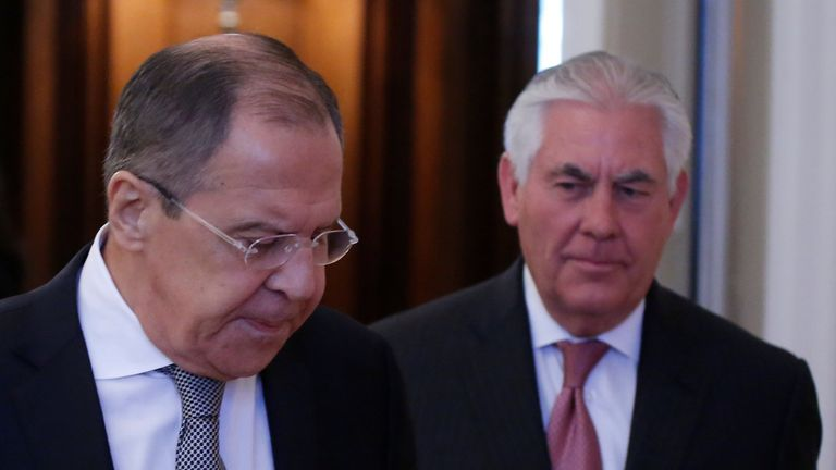Russian Foreign Minister Sergei Lavrov and U.S. Secretary of State Rex Tillerson