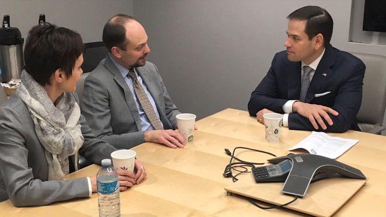 Russian opposition activist Vladimir Kara-Murza meeting Senator Marco Rubio