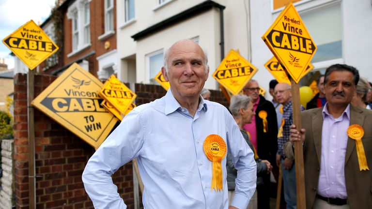 Vince Cable pictured during the 2015 general election campaign