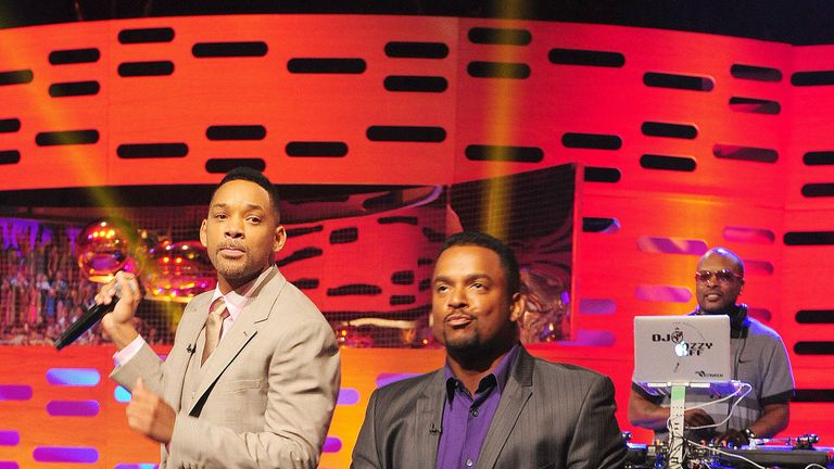Will Smith and DJ Jazzy Jeff (R) perform with Alfonso Ribeiro on the Graham Norton show