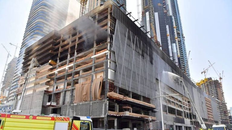 The scene of a fire in a Dubai high-rise under construction. Pic: Dubai Civil Defence
