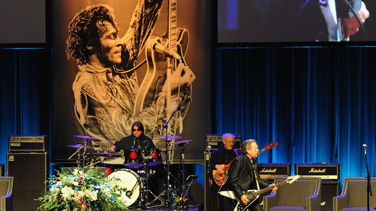 Guitarist Billy Peek performs during the memorial service