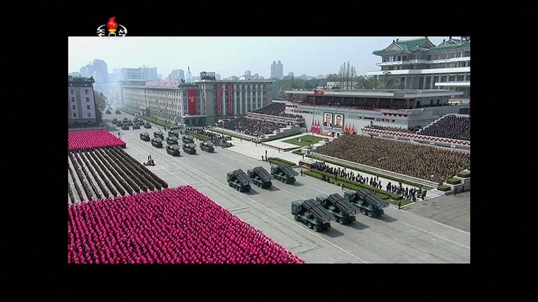A parade in Pyongyang, North Korea