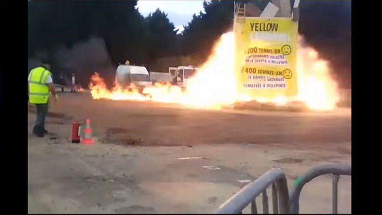 Moment of accidental blast at Paris carnival APTN. UGC Mandatory Courtesy Sylla Mohammed