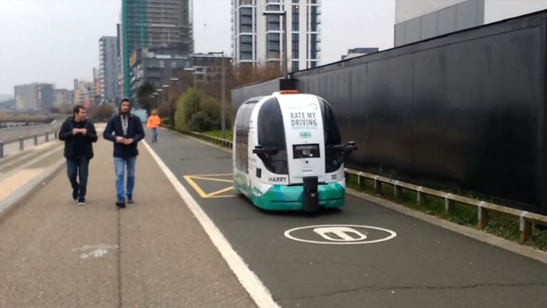 A driverless car in Greenwich