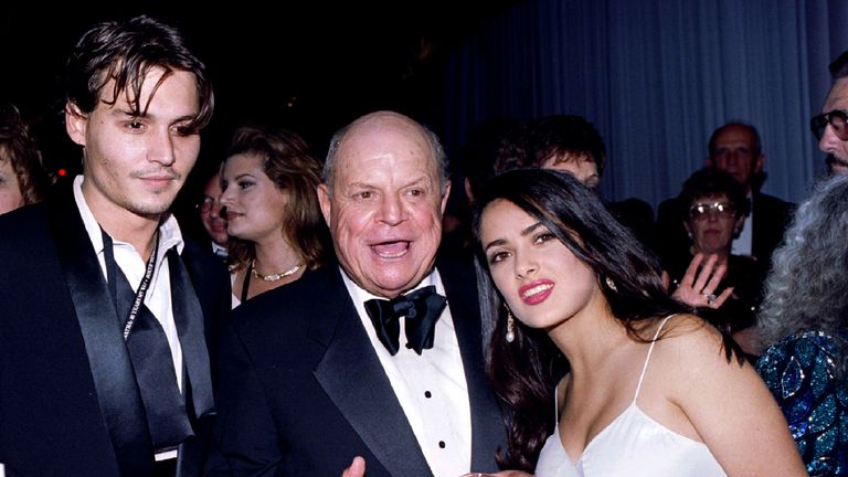 Don Rickles with Salma Hayek and Johnny Depp at the taping of a TV special