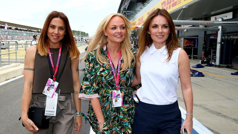 Melanie Chisholm, Emma Bunton and Geri Horner at the British Grand Prix in 2015. Geri is married to F1 racing team boss Christian Horner