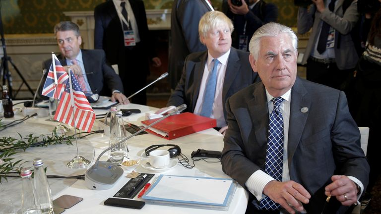 Rex Tillerson and Boris Johnson at the G7 summit in Italy