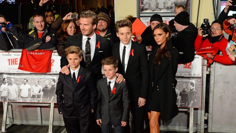 The Beckhams and their three boys Cruz, Romeo and Brooklyn