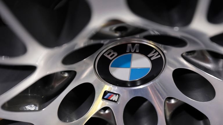 BMW logos are seen on an automobile wheel at the 2017 New York International Auto Show in New York City, U.S. April 13, 2017