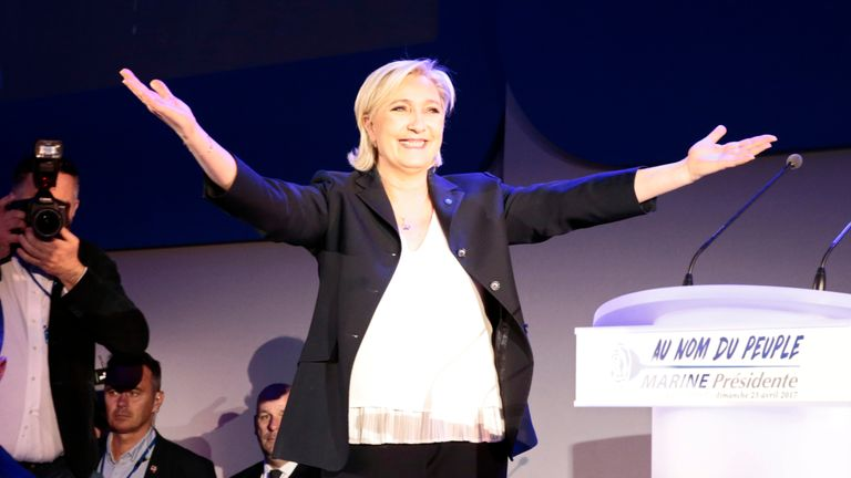 French presidential election candidate for the far-right Front National (FN) party Marine Le Pen arrives to deliver a speech in Henin-Beaumont, on April 23, 2017, after the first round of the Presidential election