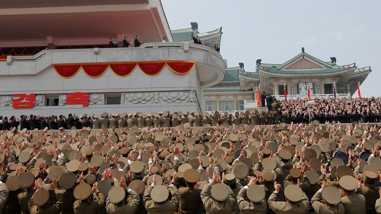 High ranking officers applaud North Korean leader Kim Jong Un