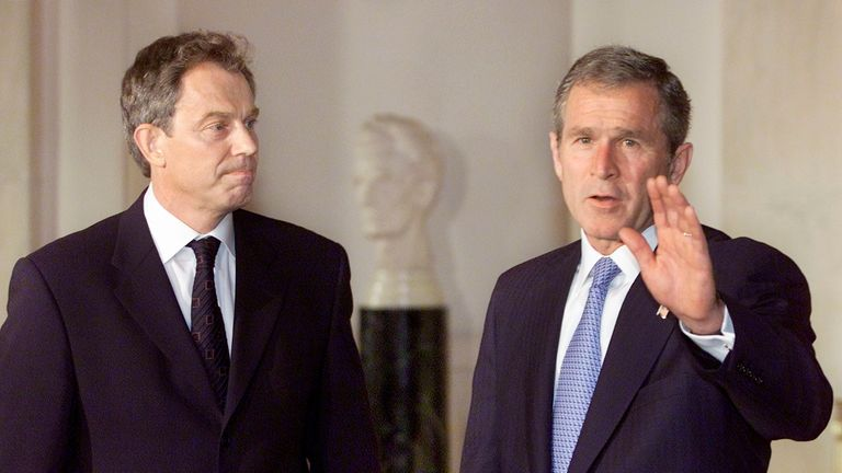 Tony Blair and George W Bush in September 2001