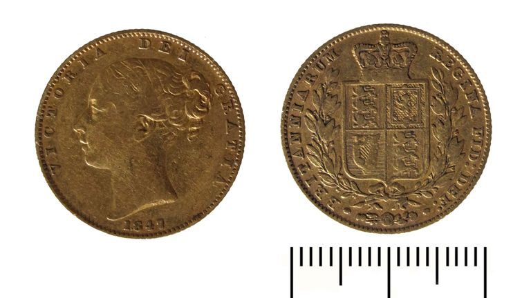 A Gold Sovereign from the reign of Queen Victoria, dated 1847, was the oldest coin in the hoard.