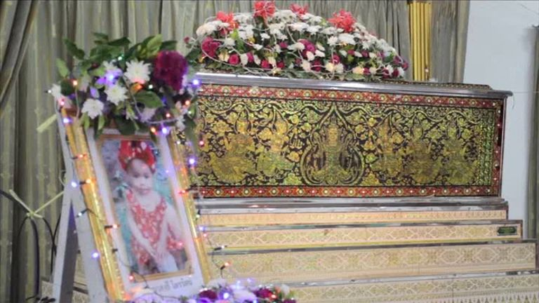 The coffin of an 11-month-old baby in Thailand