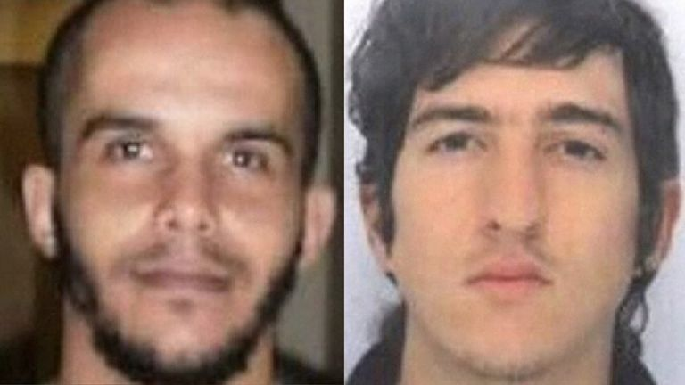 Suspects Mahiedine Merabet (L) and Clement Baur
