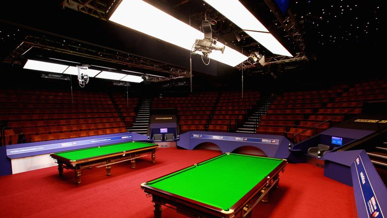 A general view of the tables on day six of the  World Snooker Championship at The Crucible Theatre