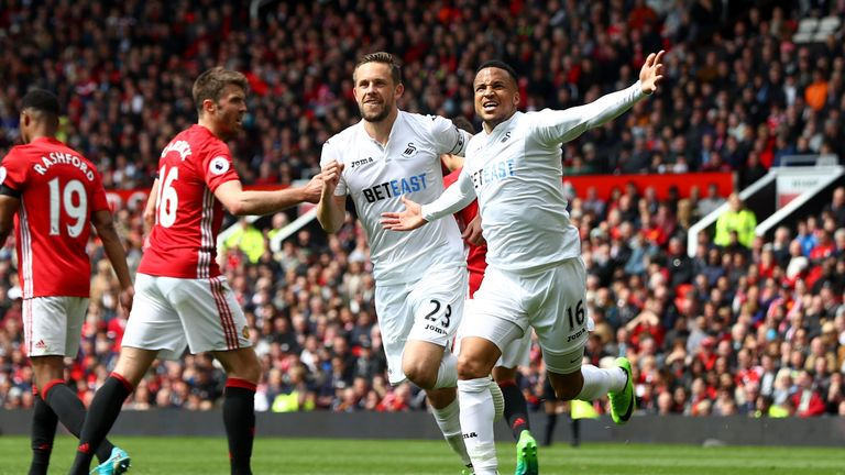 Image result for martin olsson in swansea manchester united game