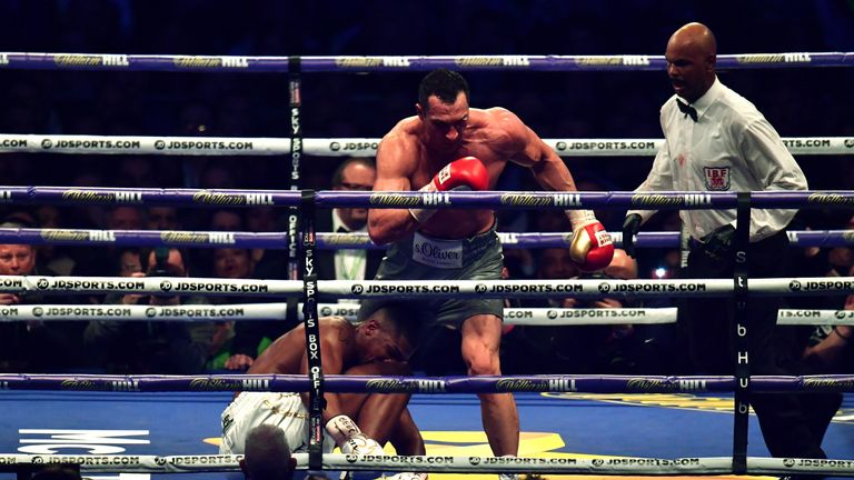 LONDON, ENGLAND - APRIL 29:  Anthony Joshua (White Shorts) and Wladimir Klitschko (Gray Shorts) in action during the IBF, WBA and IBO Heavyweight World Tit
