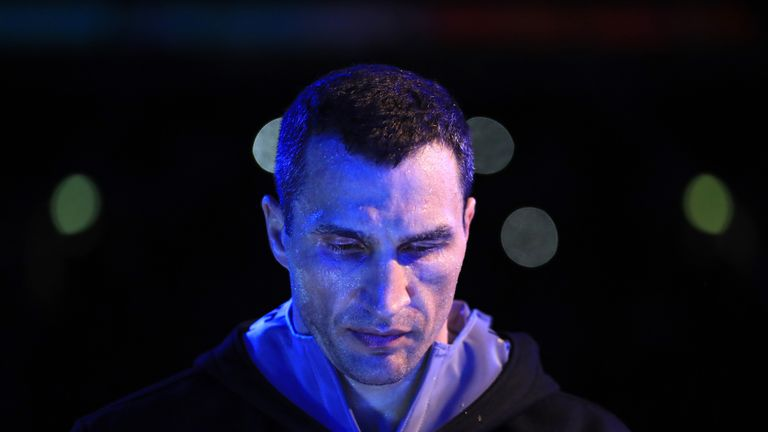 LONDON, ENGLAND - APRIL 29:  Wladimir Klitschko makes his way to the ring prior to his fight against Anthony Joshua for the IBF, WBA and IBO Heavyweight Wo