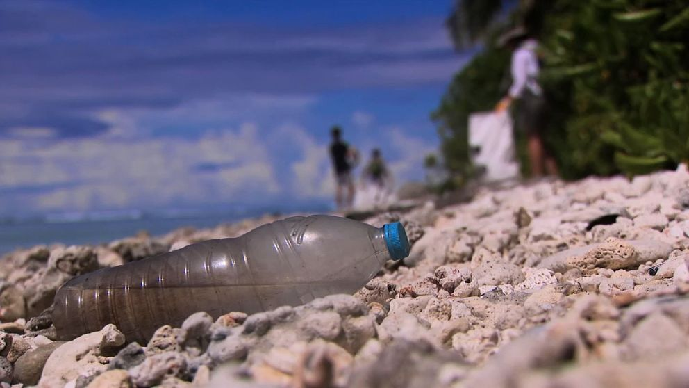 A plastic bottle on a beach on the Cocos Keeling Islands