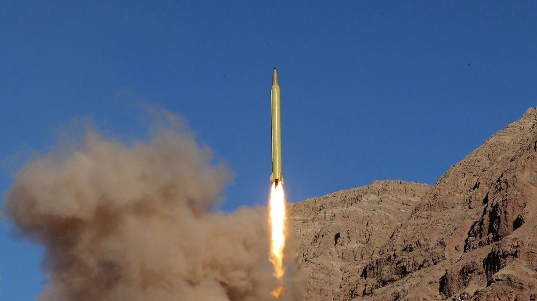 A ballistic missile is launched and tested in an undisclosed location, Iran, March 9, 2016.