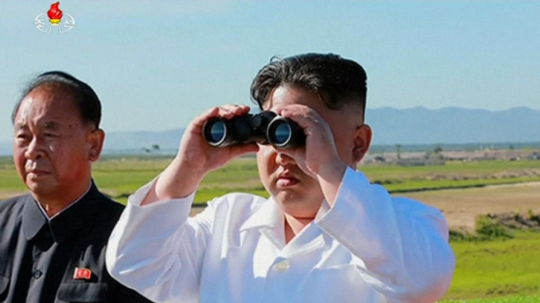 Kim Jong Un watched the skies closely during the test in North Korea