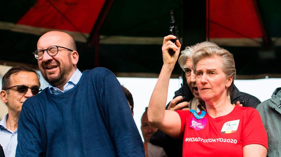 Charles Michel looks shocked as Princess Astrid fires the starting gun
