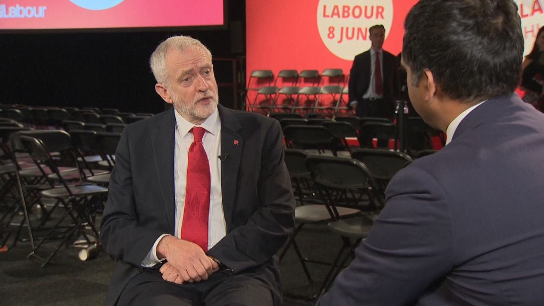 Jeremy Corbyn tells Sky News' Political Editor that he 'visualises a Labour government'