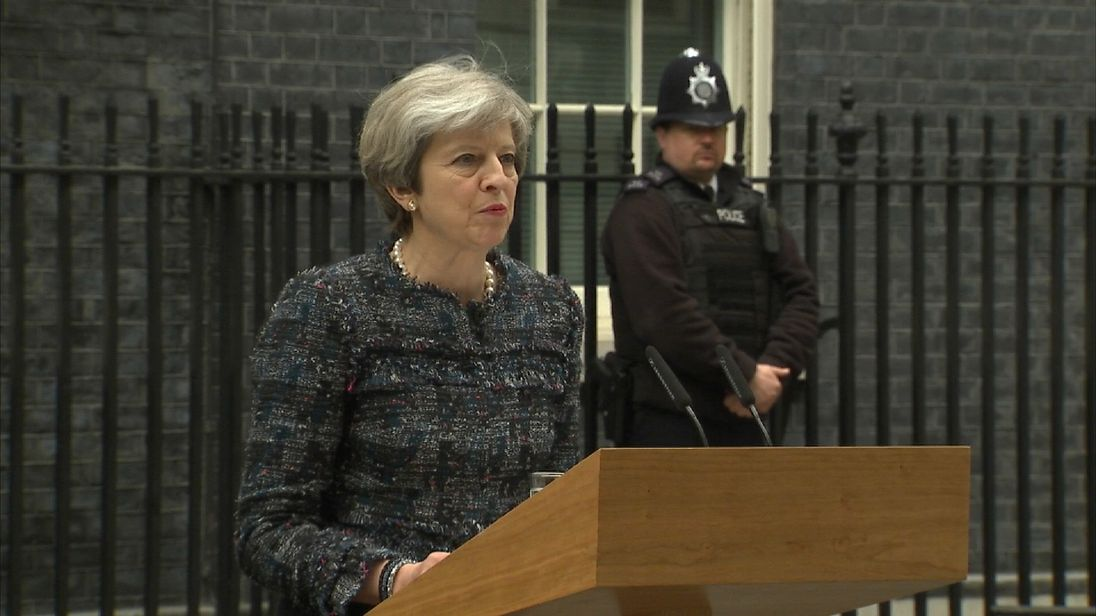 Theresa May speaks in Downing Street after returning from Buckingham Palace before General Election campaign begins