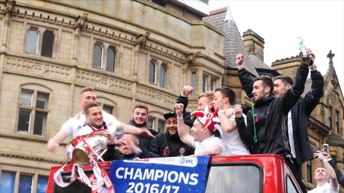 Sheffield United manager Chris Wilder slips